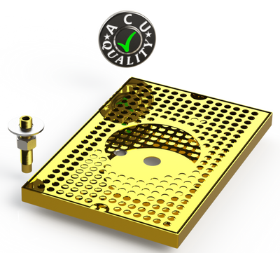 "8"" X 12"" Surface Mount Drip Tray with Drain and Rinser Hole 