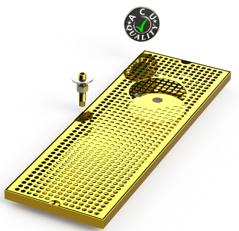 "8"" X 24"" Surface Mount Drip Tray with Drain and Right Rinser Hole 