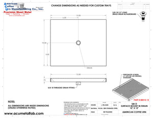 "10"" X 12"" Surface Mount Drip Tray with Drain 