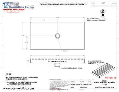 "Surface Mount Drip Tray with Drain 5"" X 10"" X 3/4"" 