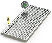 "10"" X 24"" Surface Mount Drip Tray with Drain - ACU Precision Sheet Metal"