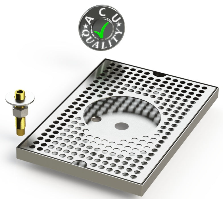 "8"" X 12"" Surface Mount Drip Tray with Drain and Rinser Hole - ACU Precision Sheet Metal"