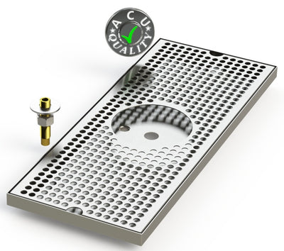 "8"" X 20"" Surface Mount Drip Tray with Drain and Rinser Hole - ACU Precision Sheet Metal"
