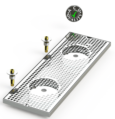 "8"" X 24"" Surface Mount Drip Tray with Double Drain and Double Rinser Holes - ACU Precision Sheet Metal"