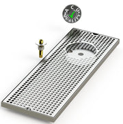"8"" X 24"" Surface Mount Drip Tray with Drain and Right Rinser Hole - ACU Precision Sheet Metal"