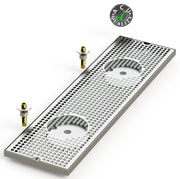 "8"" X 30"" Surface Mount Drip Tray with Double Drain and Double Rinser Holes - ACU Precision Sheet Metal"