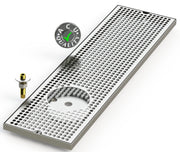 "8"" X 30"" Surface Mount Drip Tray with Drain and Left Rinser Hole - ACU Precision Sheet Metal"