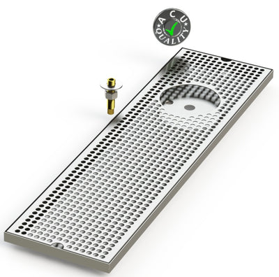 "8"" X 30"" Surface Mount Drip Tray with Drain and Right Rinser Hole - ACU Precision Sheet Metal"