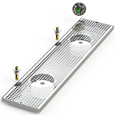 "8"" X 36"" Surface Mount Drip Tray with Double Drain and Double Rinser Holes - ACU Precision Sheet Metal"