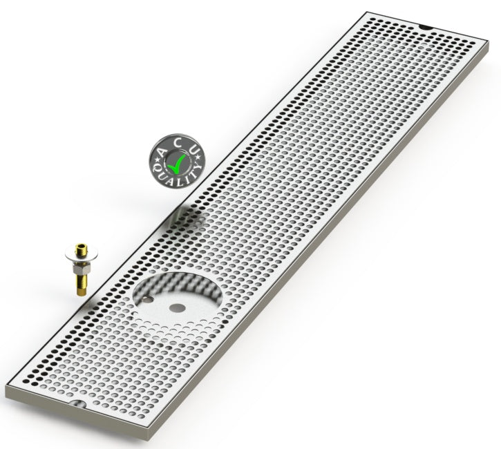 "8"" X 45"" Surface Mount Drip Tray with Drain and Left Rinser Hole - ACU Precision Sheet Metal"