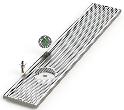 "8"" X 48"" Surface Mount Drip Tray with Drain and Left Rinser Hole - ACU Precision Sheet Metal"