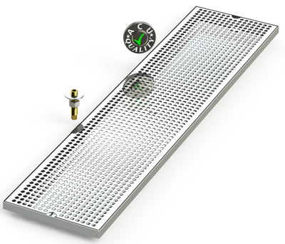 "9"" X 39"" Surface Mount Drip Tray with Drain - ACU Precision Sheet Metal"