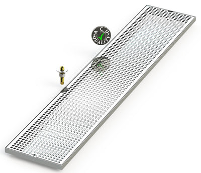 "9"" X 48"" Surface Mount Drip Tray with Drain - ACU Precision Sheet Metal"