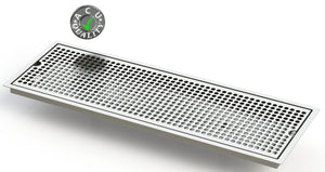 "Flush Mount 8"" X 24"" X ¾"" Drip Tray with Double Drains 