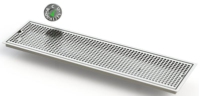 "Flush Mount 8"" X 30"" X ¾"" Drip Tray with Double Drains 