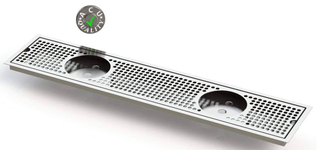 "Flush Mount w/ Double Drain and Double Rinser Holes 6"" X 30"" X ¾"" Drip Tray 