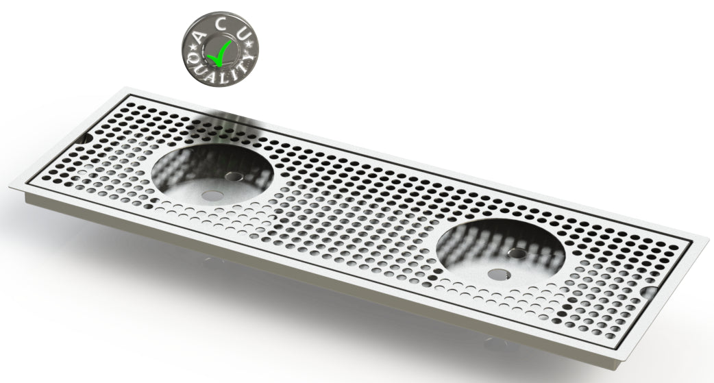 "Flush Mount w/ Double Drain and Double Rinser Holes 8"" X 30"" X ¾"" Drip Tray 