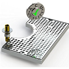 "Surface Mount Drip Tray with Cut Out and Drain | 7"" X 12"" X ¾"" 