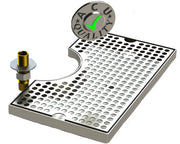 "Surface Mount Drip Tray with Cut Out and Drain | 8"" X 14"" X ¾"" 