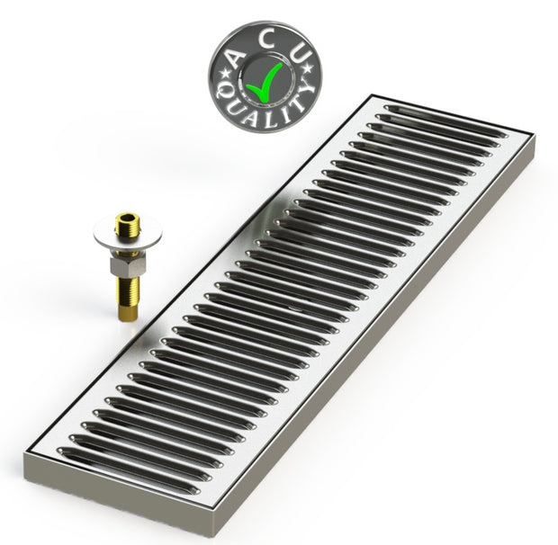 "Surface Mount Drip Tray with Drain 5"" X 20"" X 3/4"" 