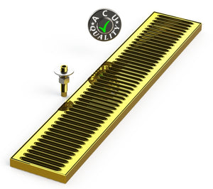 "Surface Mount Drip Tray with Drain 5"" X 28"" X 3/4"" 