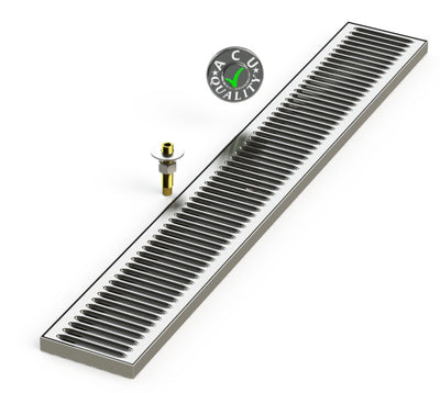 "Surface Mount Drip Tray with Drain 5"" X 36"" X 3/4"" 
