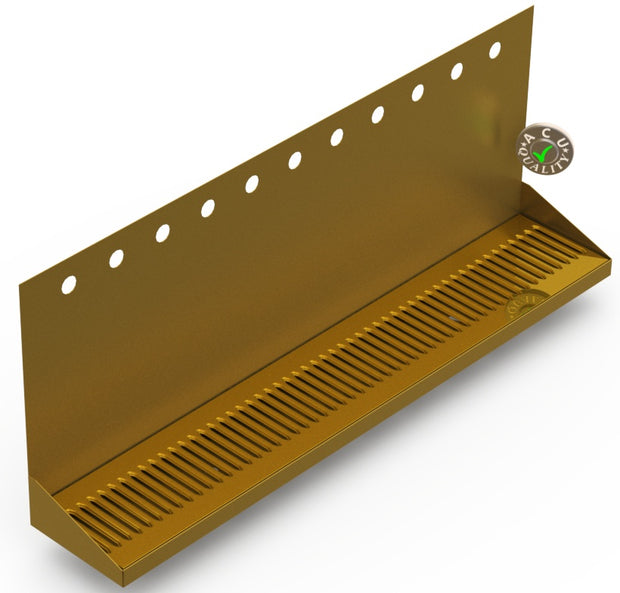 "Wall Mount Drip Tray with Double Drain | 6-3/8"" X 36"" X 14"" X 1"" 