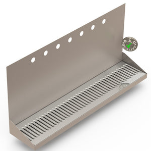 "Wall Mount Drip Tray with Double Drains | 6-3/8"" X 30"" X 14"" X 1"" 