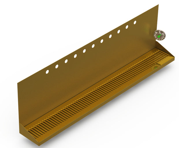 "Wall Mount Drip Tray with Double Drains | 6-3/8"" X 48"" X 14"" X 1"" 
