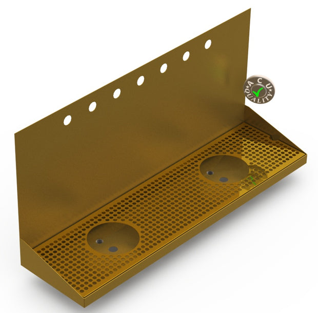 "Wall Mount Drip Tray with Double Drains and Rinser Holes | 8"" X 30"" X 14"" X 1"" 