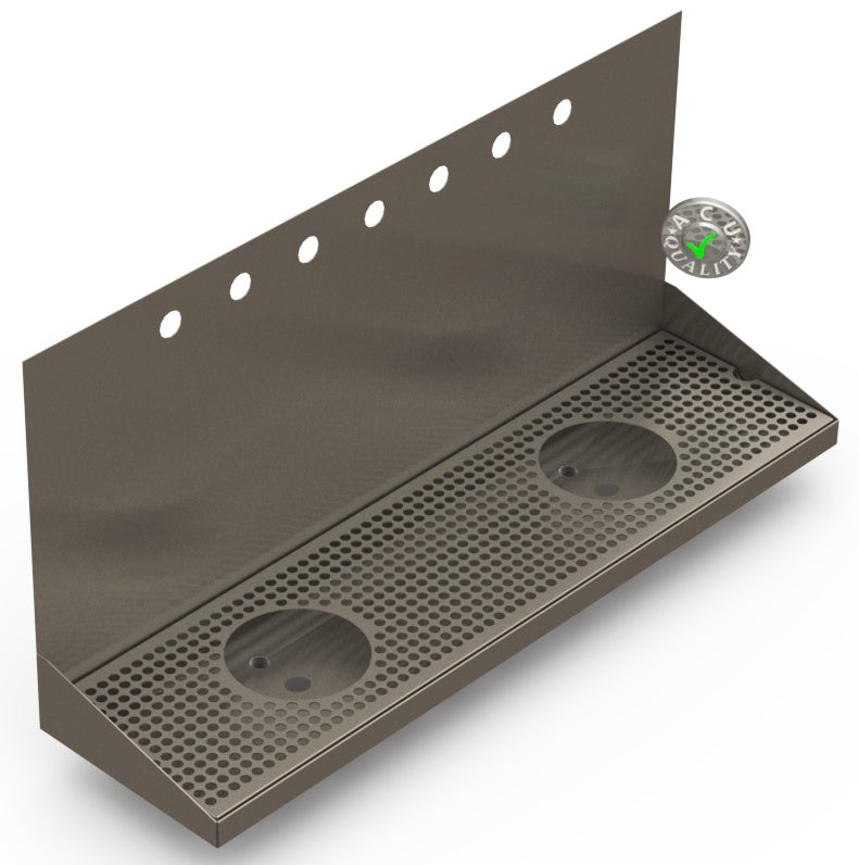 Wall Mount Drip Tray with Double Drains and Rinser Holes | 8