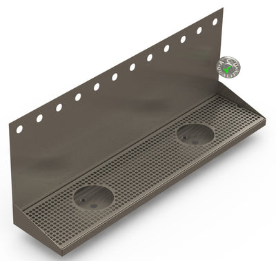 "Wall Mount Drip Tray with Double Drains and Rinser Holes | 8"" X 36"" X 14"" X 1"" 