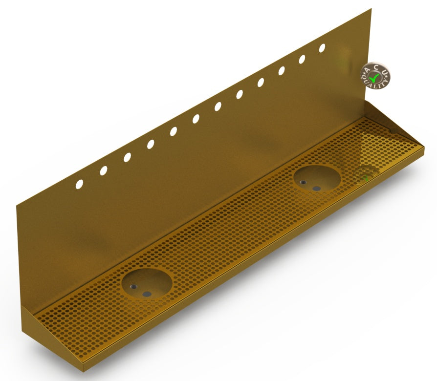 "Wall Mount Drip Tray with Double Drains and Rinser Holes | 8"" X 48"" X 14"" X 1"" 
