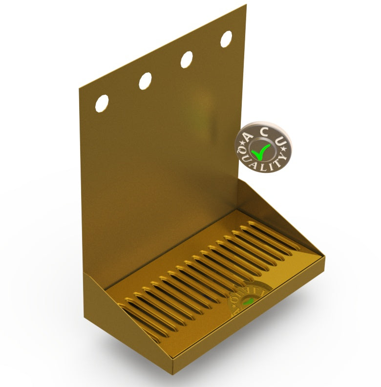 "Wall Mount Drip Tray with Drain | 6-3/8"" X 12"" X 14"" X 1"" 