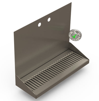 "Wall Mount Drip Tray with Drain | 6-3/8"" X 18"" X 14"" X 1"" 