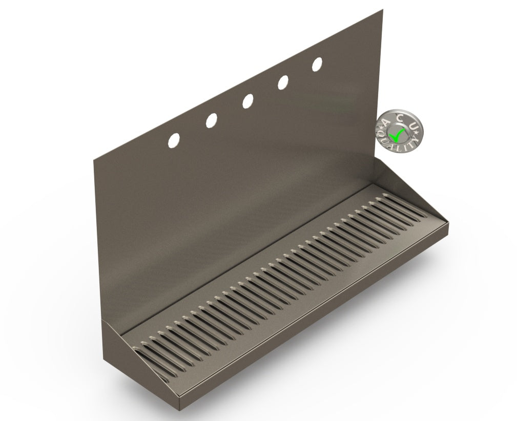 "Wall Mount Drip Tray with Drain | 6-3/8"" X 24"" X 14"" X 1"" 