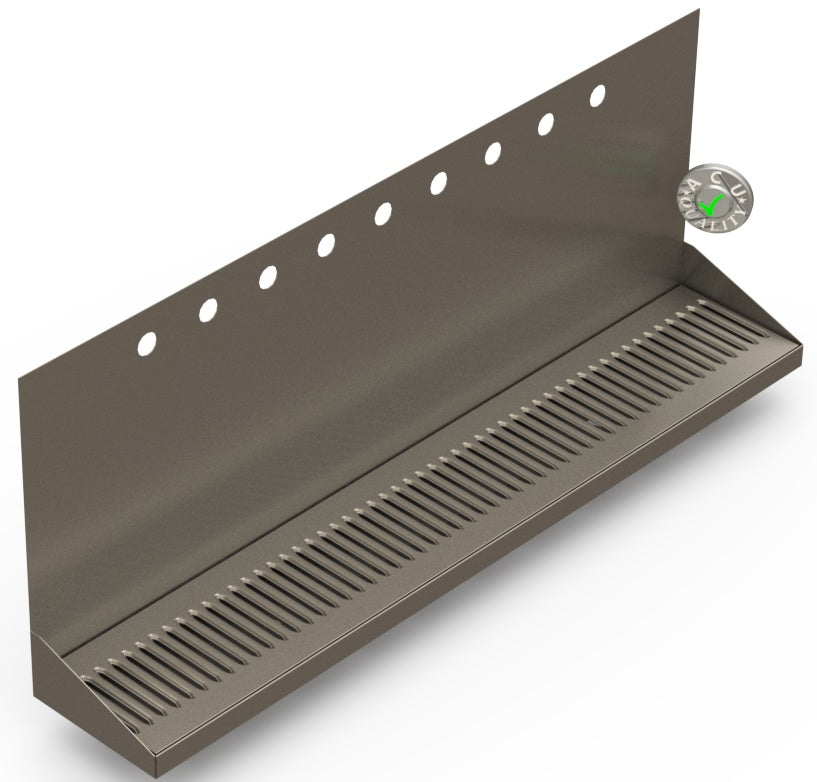 "Wall Mount Drip Tray with Drain | 6-3/8"" X 36"" X 14"" X 1"" 