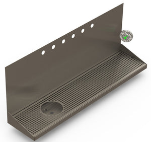 "Wall Mount Drip Tray with Drain and Left Rinser Hole | 8"" X 36"" X 14"" X 1"" 