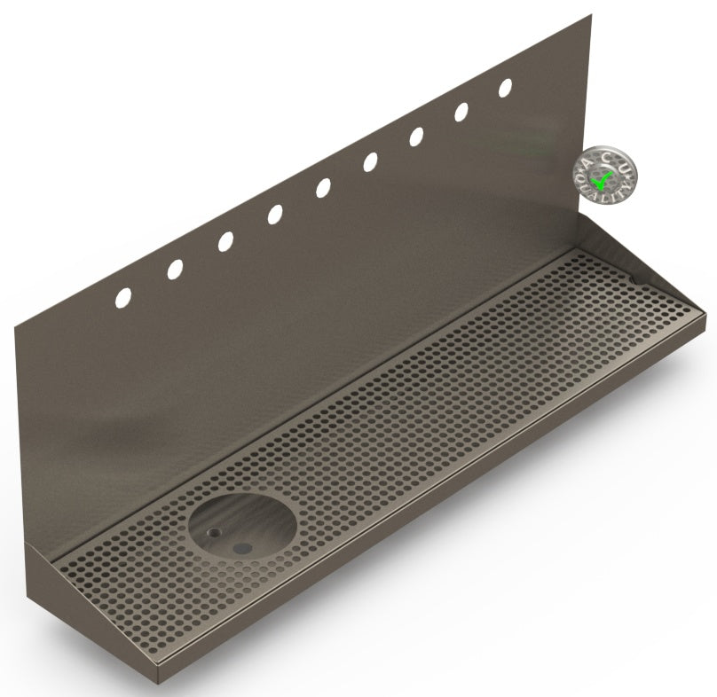 Wall Mount Drip Tray with Drain and Left Rinser Hole | 8
