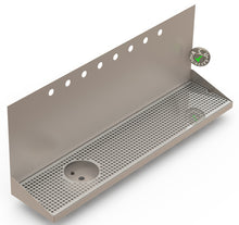 "Load image into Gallery viewer, Wall Mount Drip Tray with Drain and Left Rinser Hole | 8"" X 36"" X 14"" X 1"" 