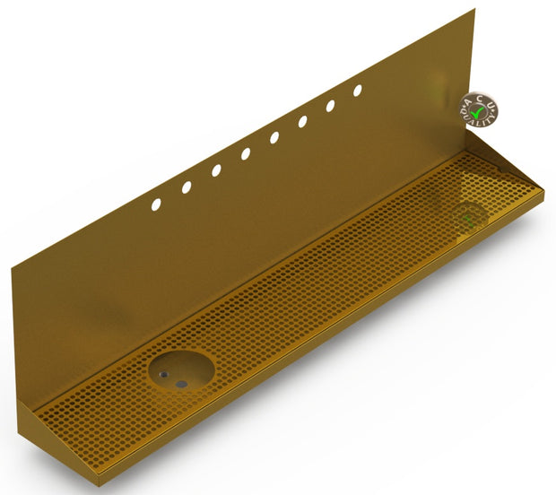 "Wall Mount Drip Tray with Drain and Left Rinser Hole | 8"" X 48"" X 14"" X 1"" 