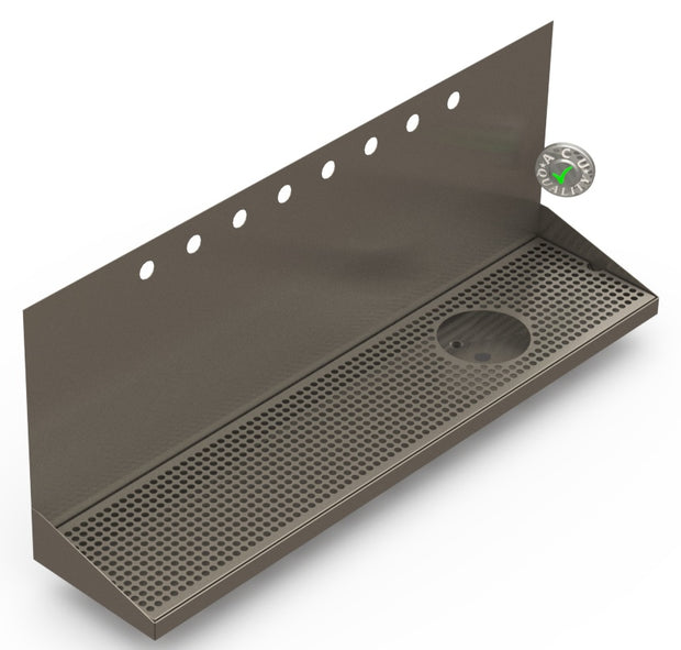 "Wall Mount Drip Tray with Drain and Right Rinser Hole | 8"" X 36"" X 14"" X 1"" 