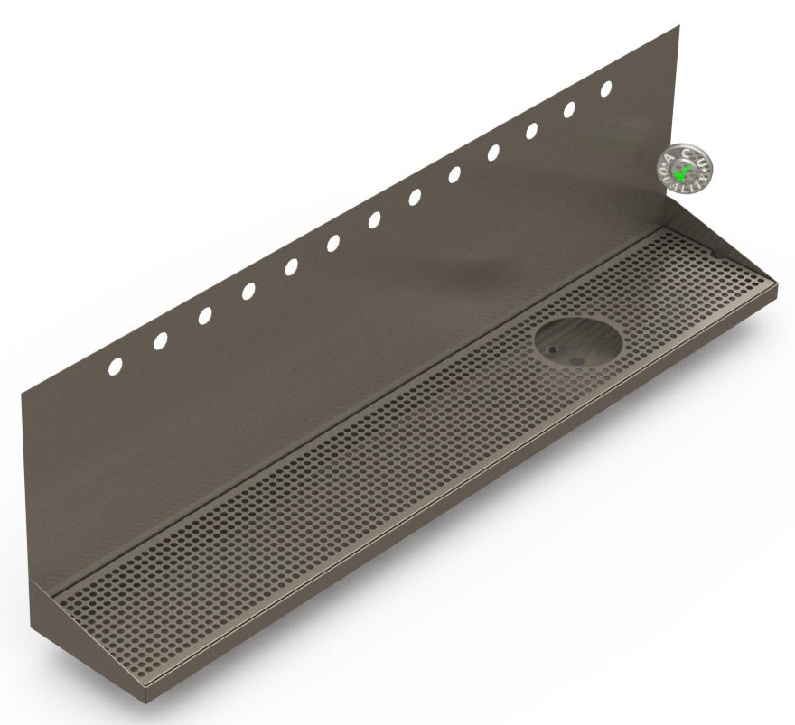 Wall Mount Drip Tray with Drain and Right Rinser Hole | 8