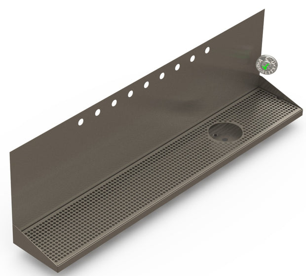 "Wall Mount Drip Tray with Drain and Right Rinser Hole | 8"" X 48"" X 14"" X 1"" 