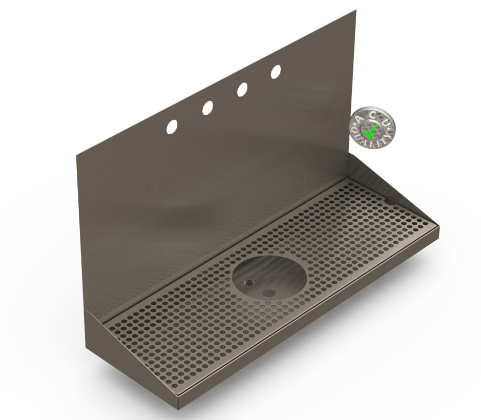 Wall Mount Drip Tray with Drain and Rinser Hole | 8