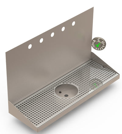"Wall Mount Drip Tray with Drain and Rinser Hole | 8"" X 24"" X 14"" X 1"" 