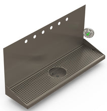 "Load image into Gallery viewer, Wall Mount Drip Tray with Drain and Rinser Hole | 8"" X 30"" X 14"" X 1"" 