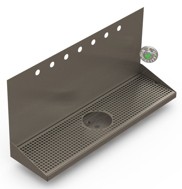"Wall Mount Drip Tray with Drain and Rinser Hole | 8"" X 30"" X 14"" X 1"" 