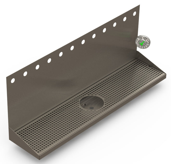 36 Quot Wall Mount Drip Tray With Drain And Rinser Hole Beer
