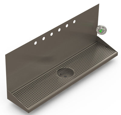 "Wall Mount Drip Tray with Drain and Rinser Hole | 8"" X 36"" X 14"" X 1"" 
